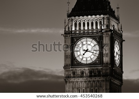 Big Ben closeup in London in black and white - stock photo