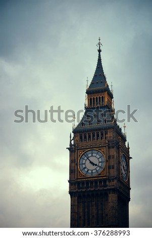 Big Ben closeup in Westminster, London.