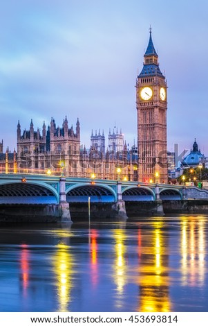 Big Ben famous Landmark of London at night. - stock photo