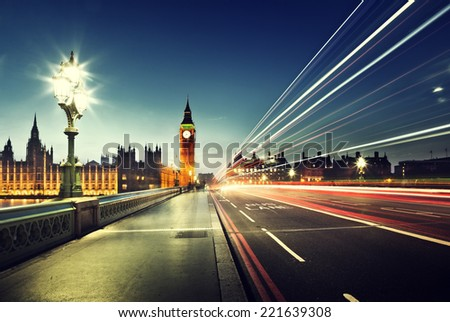 Big Ben from Westminster Bridge, London - stock photo