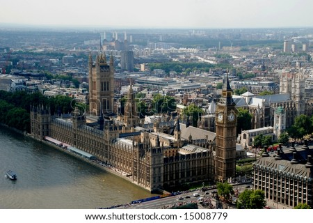 Big Ben & Houses of Parliament, as seen from the London Eye; 
