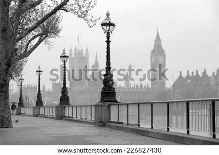Big Ben & Houses of Parliament, black and white photo. - stock photo