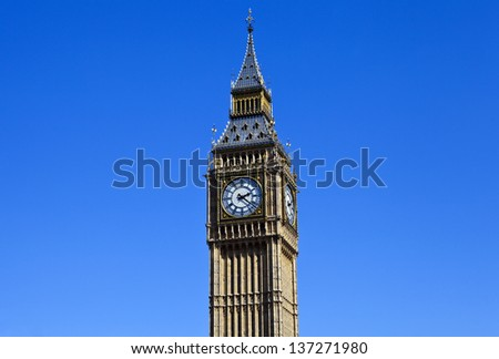Big Ben (Houses of Parliament) in London. - stock photo