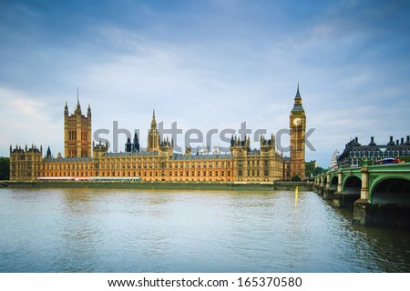 Big Ben, Houses of Parliament, Thames river and Westminster bridge London, UK, Europe - stock photo