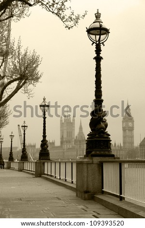 Big Ben & Houses of Parliament,  view in fog - stock photo