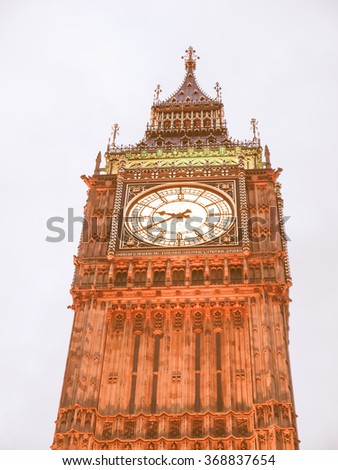 Big Ben Houses of Parliament Westminster Palace London gothic architecture - at night vintage - stock photo