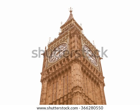 Big Ben Houses of Parliament Westminster Palace London gothic architecture - isolated over white background vintage - stock photo