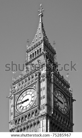 Big Ben, Houses of Parliament, Westminster Palace, London gothic architecture - rectilinear frontal view - stock photo
