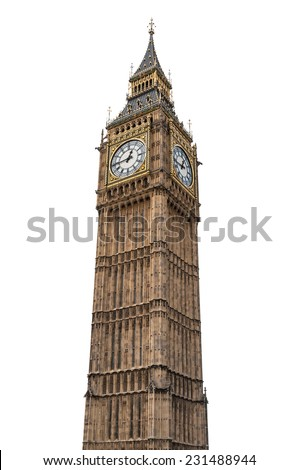 Big Ben in London isolated on white background with clipping path - stock photo