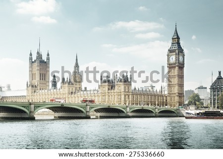 Big Ben in sunny day, London - stock photo