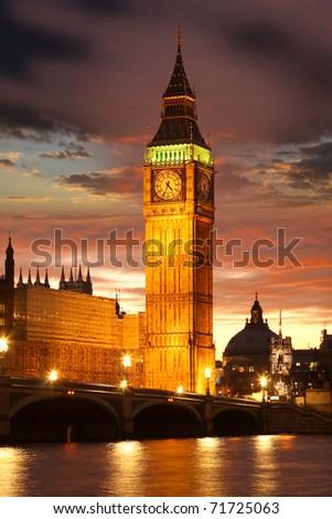 Big Ben in the evening, London, UK - stock photo