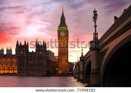 Big Ben in the evening, London, UK - stock photo