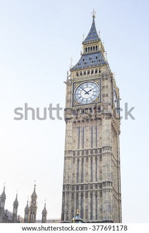 Big Ben in Westminster, London, Uk. The famous clock of the Parliament building in a sunny day of February in London.
