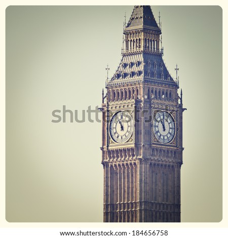 Big Ben in Westminster, London, with Instagram effect filter