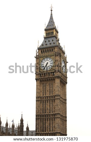 Big Ben isolated on white, London gothic architecture, UK