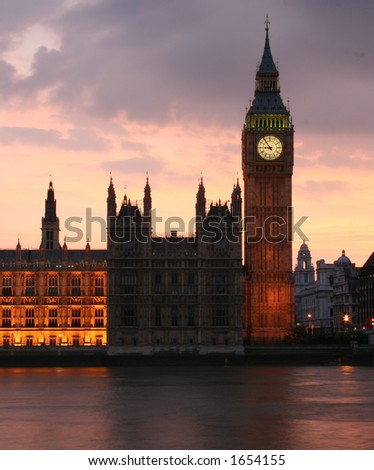 Big Ben just after sunset