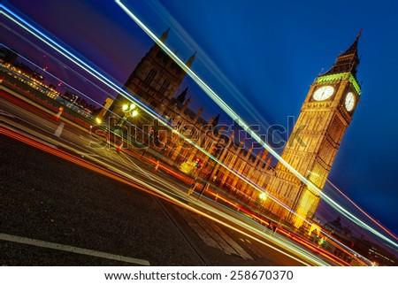 Big Ben London at night - stock photo