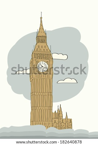 Big Ben, London, England, UK. Hand Drawn Illustration.Business travel and tourism concept with historic building. Image for presentation, banner, placard and web site. - stock photo