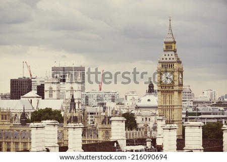 Big Ben London skyline with instagram style filter - stock photo