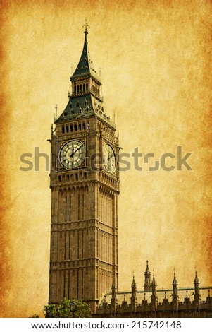 Big Ben,  London, UK.  Added paper texture