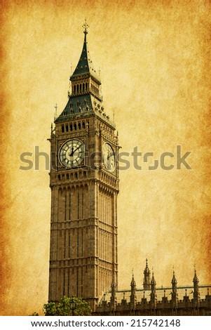 Big Ben,  London, UK.  Added paper texture - stock photo