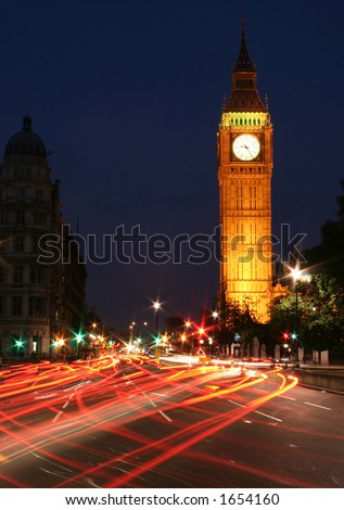 Big Ben night traffic