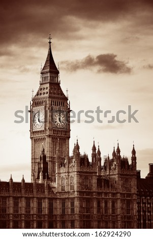 Big Ben of London as the famous landmark and icon of the city. - stock photo