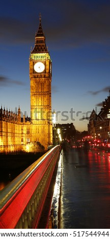 Big Ben, Palace of Westminster, seen from Westminster Bridge at Night