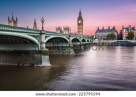 Big Ben, Queen Elizabeth Tower and Wesminster Bridge Illuminated at Dawn, London, United Kingdom - stock photo