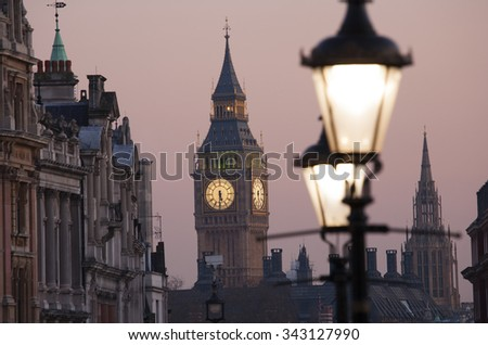 Big Ben, seen from Hungerford Bridge, Close up in the evening glow