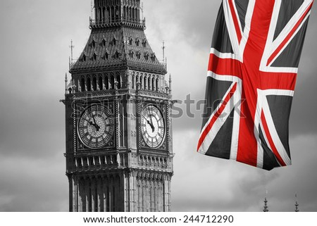 Big Ben, seen from South Bank, on a overcast sky - stock photo