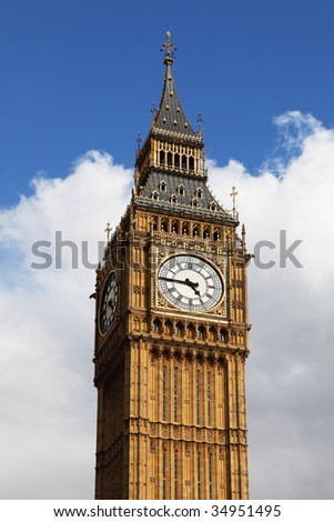 big ben, the head in the sky - stock photo