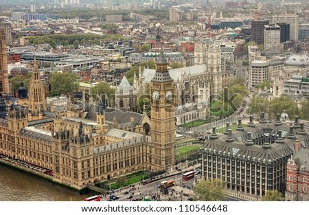 Big Ben, the Parliament and the Thames river, London - stock photo