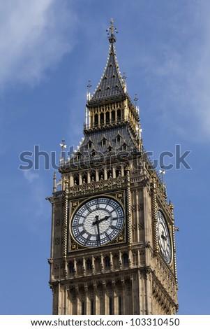 Big Ben Tower Clock on a beautiful blue sky - stock photo