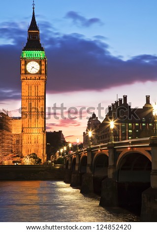 Big Ben & Westminster Bridge - stock photo