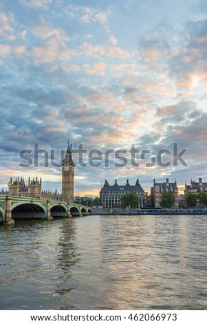 Big Ben, Westminster bridge and cloudy colorful sky. London, United Kingdom