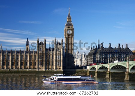 Big Ben with boat,  clock just in the noon, London , UK - stock photo