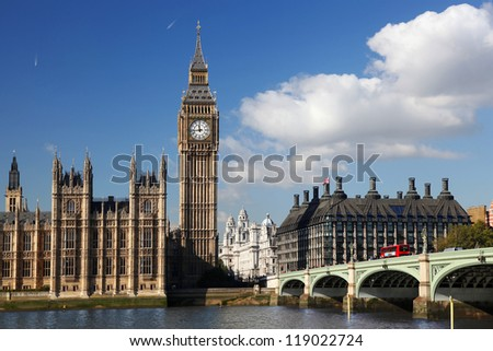 Big Ben with bridge in London, England - stock photo