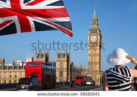 Big Ben with bridge in  London, UK