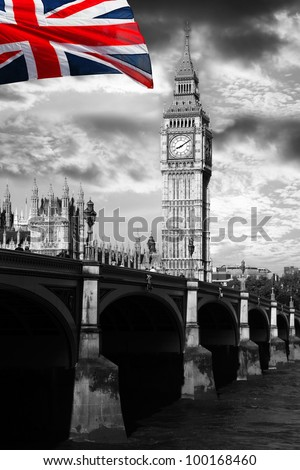 Big Ben with colorful flag of England in London - stock photo