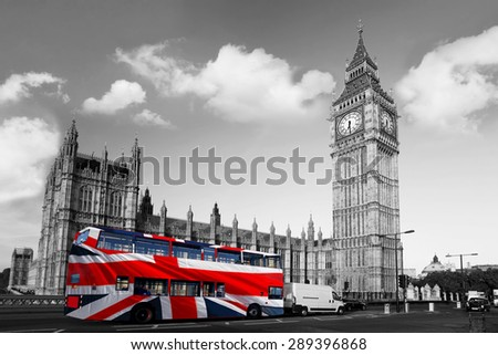Big Ben with double decker bus in London, England, UK - stock photo