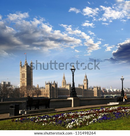 Big Ben with houses of Parliament in London, England - stock photo