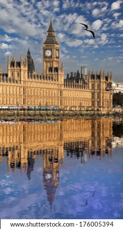 Big Ben with river in London, UK - stock photo