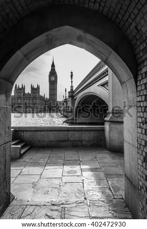 Big Ben with Westminster Bridge and Thames from Underpass in London Black and White - stock photo