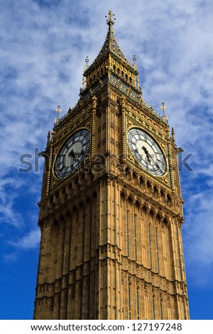 Big Ben - World's famous clock tower, London, UK. - stock photo