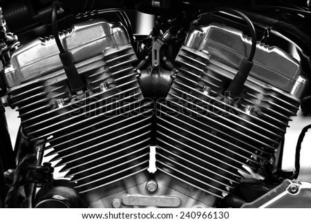 Big bike engine black and white.  - stock photo