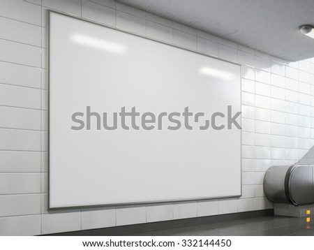 Big billboard in the bright subway. 3d rendering - stock photo
