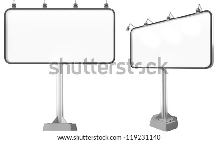 Big billboard with blank space, ready to put your ad. Front and perspective view. - stock photo