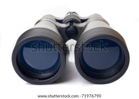 Big black binoculars isolated on white background - stock photo