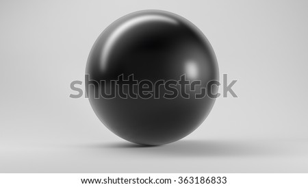 Big black glass sphere with transparent glares and highlights on white background. Black pearl. = =   gradients, effects. Abstract texture for your design and business